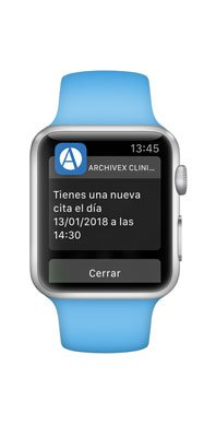 Notificaciones de Archivex Clinical en el Apple Watch